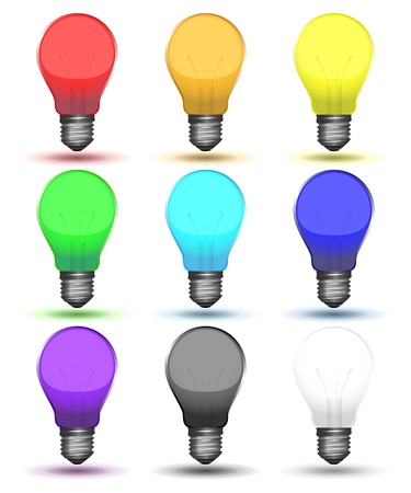 incandescent: Color set of bulbs with shadows illustration. Illustration