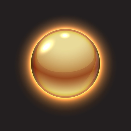 Golden glowing ball on black illustration