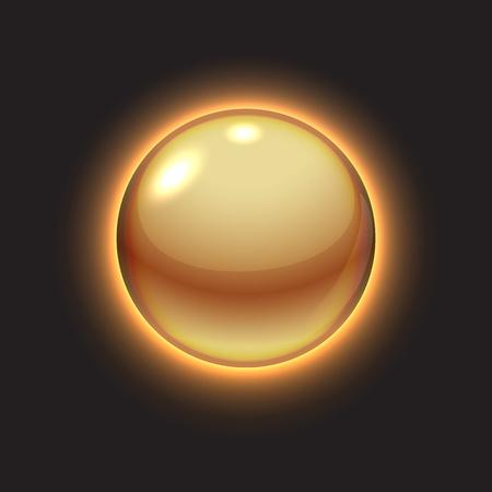 Or boule lumineuse sur l'illustration noir