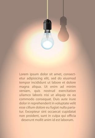 Lonely lamp met schaduw op witte muur illustratie