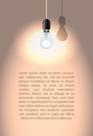 Lonely lamp with shadow on white wall illustration Vector