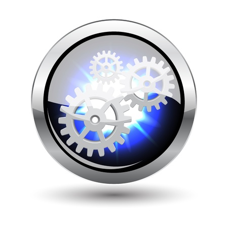 Isolated glowing repairing metal button with shadow on white Vector