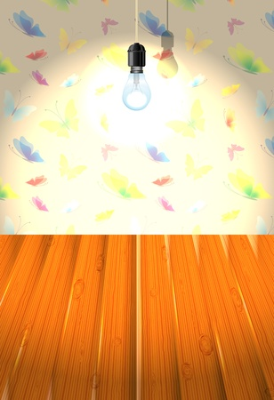 Interior with butterfly wallpaper and wooden floor Vector