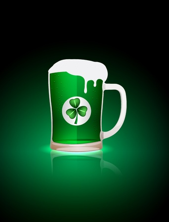 green beer: St Patrick beer mag with clover sticker illustration