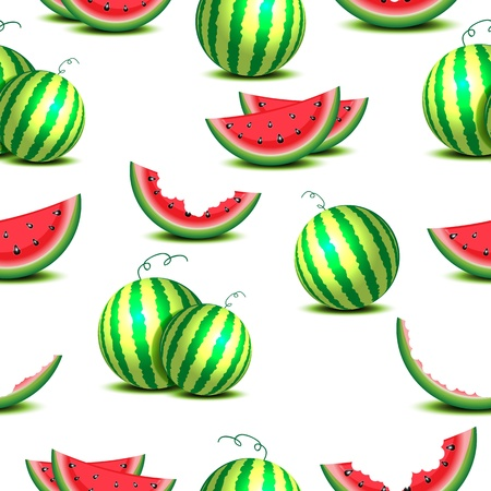 Seamless background of whole watermelons isolated on white Vector