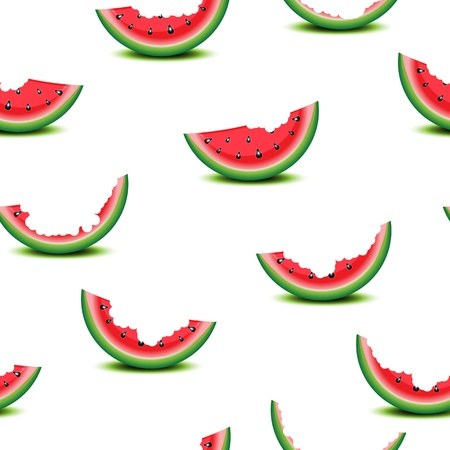 eaten: Seamless background of watermelon slices on white illustration