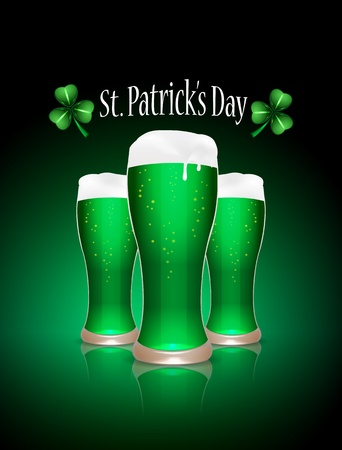 St Patrick beer glasses, vector illustration  Vector