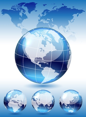 business asia: Different views of dark blue glass globe, map included