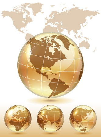 Different views of golden glass globe, map included