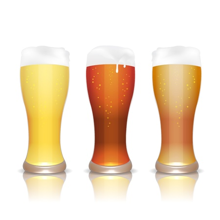 mug of ale: Light, dark and unfiltered beer in glasses with reflection, isolated on white Illustration