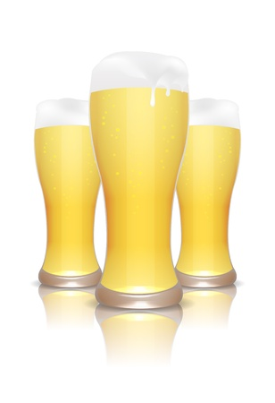 Three beer glasses with reflection isolated on white  Vector