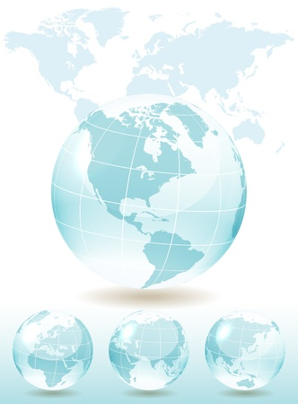 Different views of blue glass globe, map included, vector illustration, eps 10, 3 layers Stock Vector - 12933589