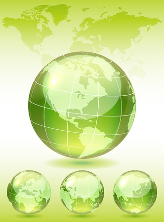 Different views of green glass globe, map included, vector illustration, eps 10, 3 layers Vector