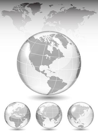 globo terraqueo: Diferentes puntos de vista de globo de cristal, mapa incluido, ilustración vectorial, EPS 10, 3 capas