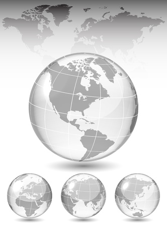 Different views of glass globe, map included, vector illustration, eps 10, 3 layers 向量圖像