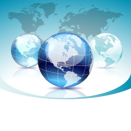 Set of blue glass globe, map included Vector