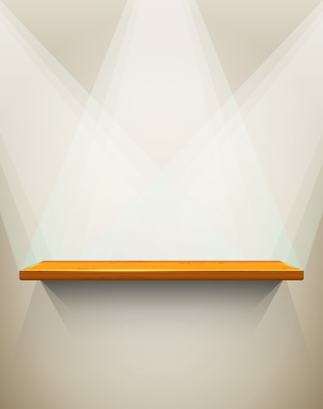 Wooden shelf with place for your exhibit Vector