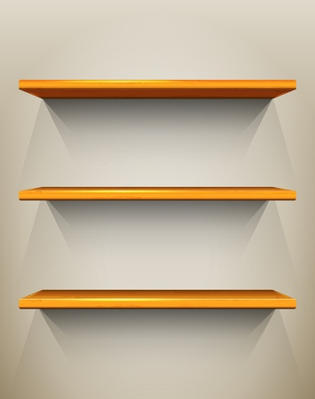 Wooden shelves with place for your exhibits Stock Vector - 13446965