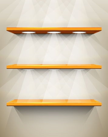 Wooden shelves with place for your exhibits Vector