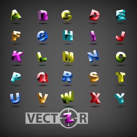 Funny colorful 3d alphabet Vector