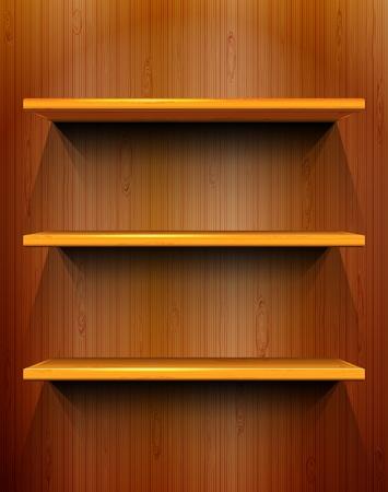 Drewniane półki z miejscem na wystawy bez szwu drewnianym tle Ilustracje wektorowe