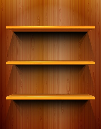 Wooden shelves with place for your exhibits, seamless wooden background Vector