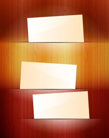 Stickers on wooden background Stock Vector - 14164797