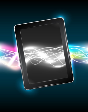 Tablet pc with magic vivid light, vector illustration, eps10, easy editable, 3 layers Stock Vector - 14241229