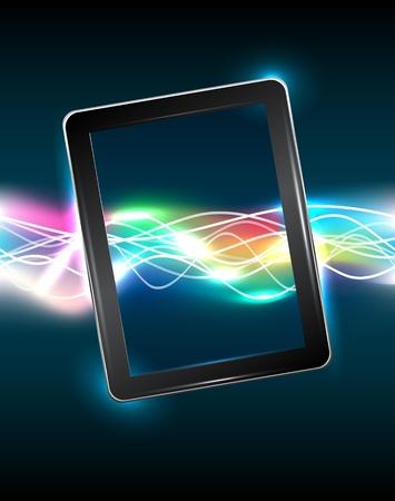 Tablet PC avec une vive lumière magique Vecteurs