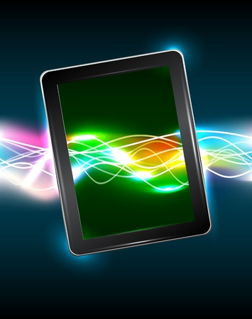 Tablet pc with magic vivid light Stock Vector - 14365490