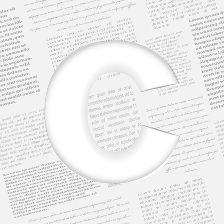 derived: Derived letter on newspaper background. Seamless newspaper pattern included! Illustration