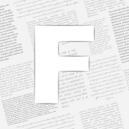 Derived letter on newspaper background. Seamless newspaper pattern included! Vector