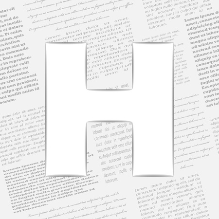 Derived letter on newspaper background. Seamless newspaper pattern included  Stock Vector - 14365503
