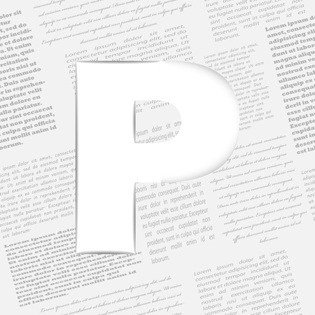 Derived letter on newspaper background. Seamless newspaper pattern included  Vector