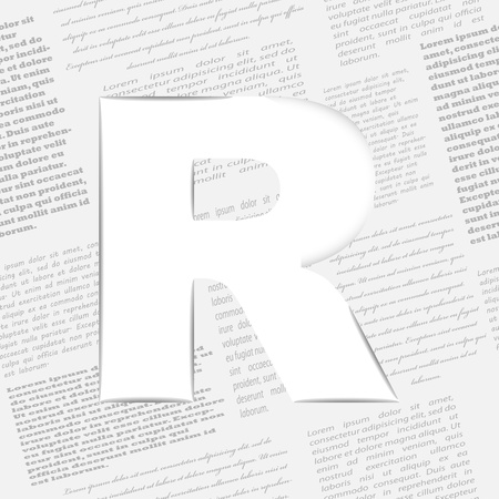 Derived letter on newspaper background. Seamless newspaper pattern included Stock Vector - 14365535