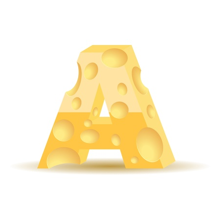 parmesan cheese: Letter made of cheese (see other cheese characters in my portfolio)