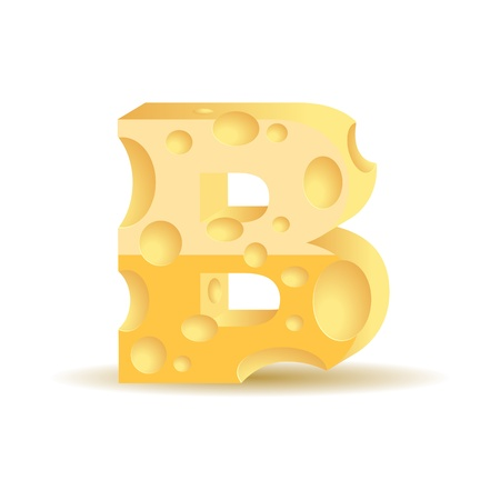 Letter made of cheese (see other cheese characters in my portfolio), vector illustration, eps10, transparent shadow Vector