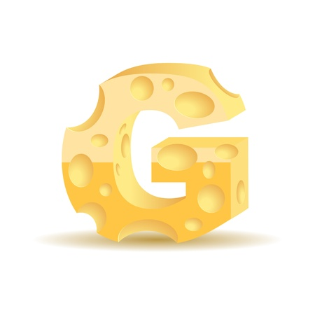 Letter made of cheese  see other cheese characters in my portfolio , vector illustration, eps10, transparent shadow Vector