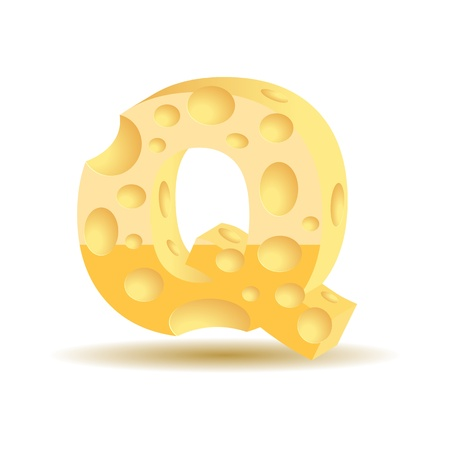 Letter made of cheese  see other cheese characters in my portfolio , vector illustration, eps10, transparent shadow