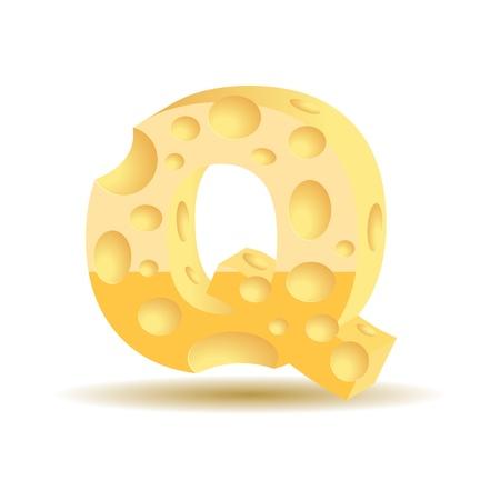 parmigiano: Lettera a base di formaggio vedere personaggi formaggio altri nel mio portafoglio, illustrazione vettoriale, eps10, ombra trasparente Vettoriali