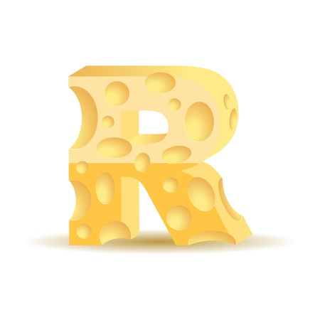 parmesan: Letter made of cheese  see other cheese characters in my portfolio