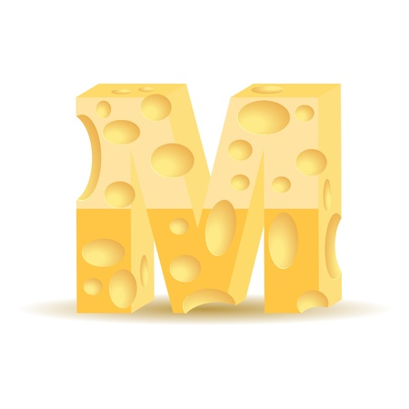 Letter made of cheese (see other cheese characters in my portfolio), transparent shadow Vector
