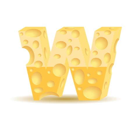 parmesan: Letter made of cheese (see other cheese characters in my portfolio), transparent shadow