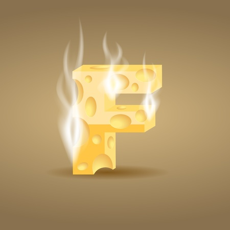 Letter made of hot cheese (see other cheese characters in my portfolio) Vector