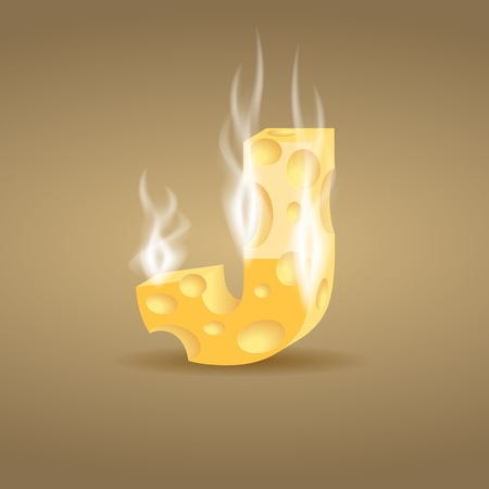 Letter made of hot cheese Vector