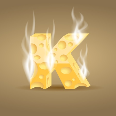 Letter made of hot cheese