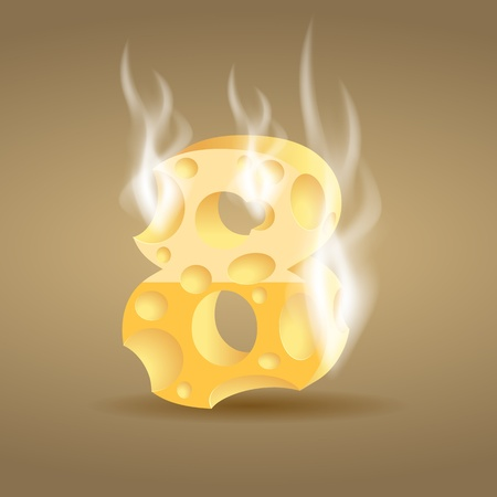Figure made of hot cheese Vector