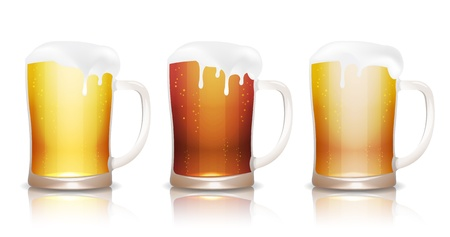 Light, dark and unfiltered beer in mugs with reflection, isolated on white Stock Vector - 15013416