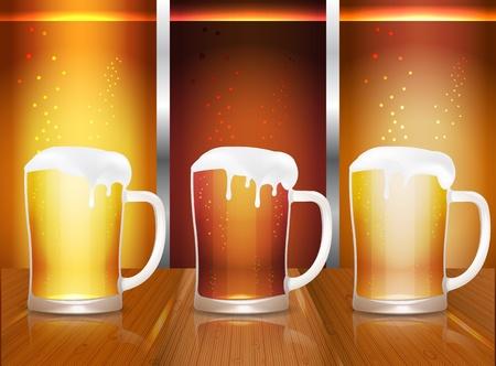 dark lager: Beer mugs on wooden table of pub