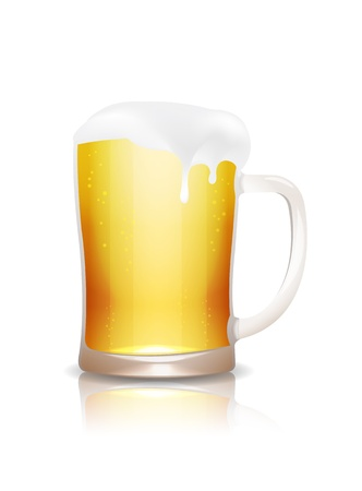 Beer mug with reflection isolated on white Stock Vector - 15013411